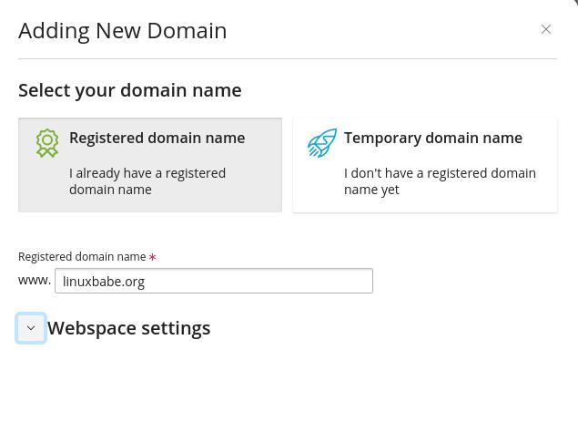 plesk registered domain name