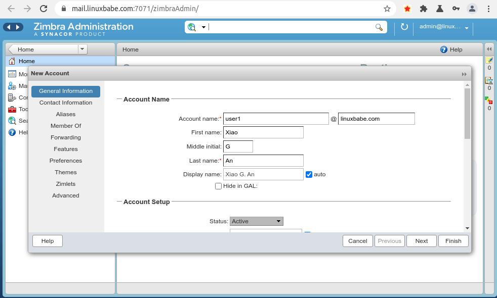 zimbra add new email addresses