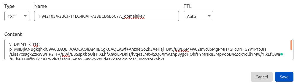 zimbra mail server dkim record
